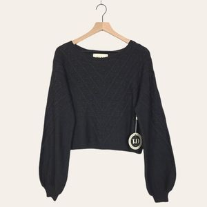 The Jetset Diaries Cable Knit Balloon Sleeve Cropped Sweater